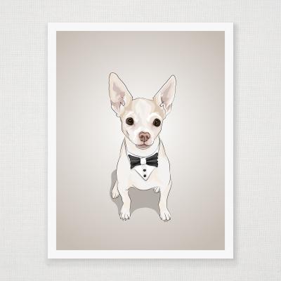Bowtie Chihuahua Art Print
