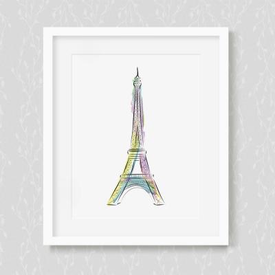 Vibrant Eifel Tower Art Print