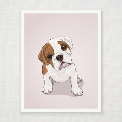 English Bulldog Puppy Wall Art Print