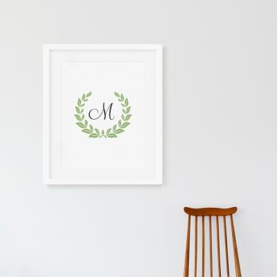 Monogram Laurel Wreath Art Print