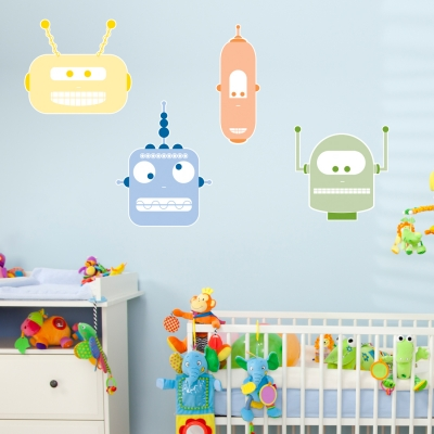 Robot Heads - Printed Wall Decals