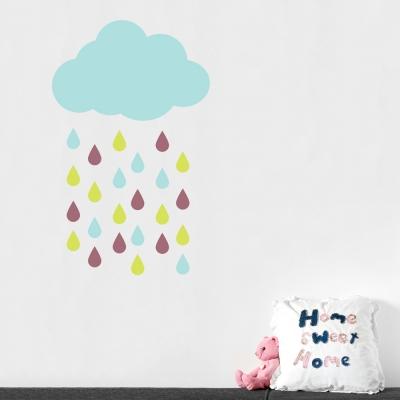 Rain cloud and drops wall decal