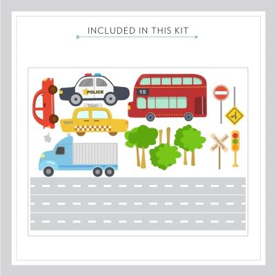 Transportation wall decal kit