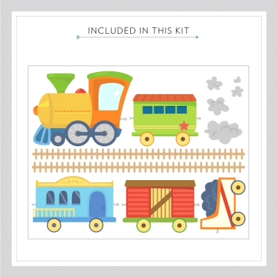 Choochoo Train Fun Printed Wall Decals Kit