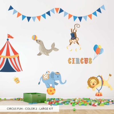 Large Color #2 Set Circus Fun Printed Decal Large Set