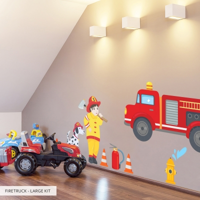 Firetruck Large Set Printed Wall Decal Kit