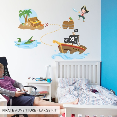 Large Set  Pirate Adventure Printed Wall Decal