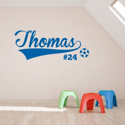 Soccer Name and Number Wall Art Decal