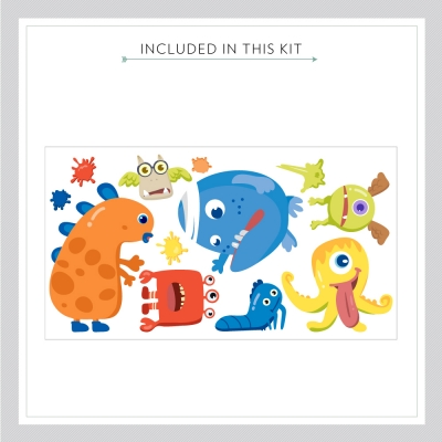 Monster wall decal kit