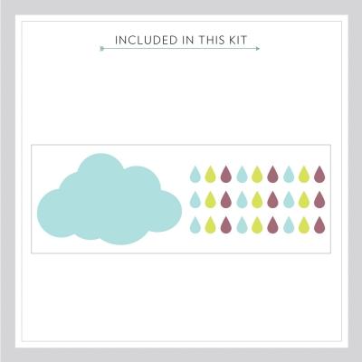 Rain Cloud and Drops Printed Wall Art Decal