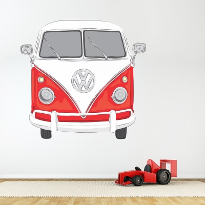 Red VW bus Printed Wall Decal