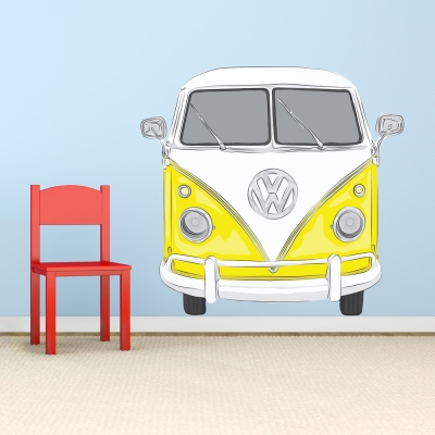 Yellow Volkswagen Bus Decal