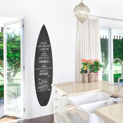 Surfboard Chalkboard Wall Decal
