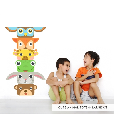 Cute Animal Totem Poll Printed Wall Decal