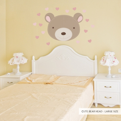 Cute Bear Head Large Pink Printed Wall Decal
