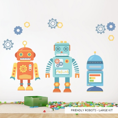 Large Friendly Robots Printed Wall Decal
