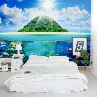 Island Sea Life Bedroom Wall Mural