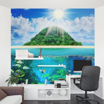 Island Sea Life Office Wall Mural