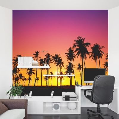Palm Tree Sunset Mural