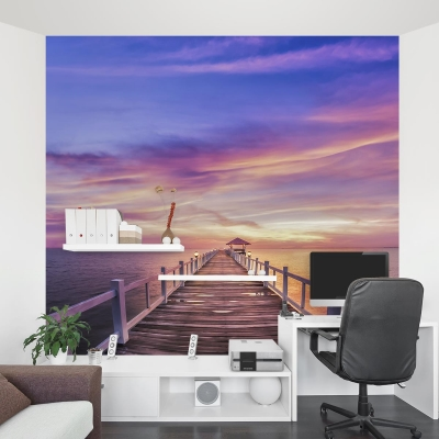 Thailand Pier Sunset Wall Mural
