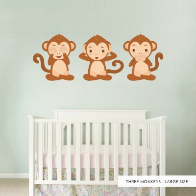 Three Monkeys Printed Wall Decal