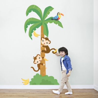 Fun Monkey Tree Printed Wall Decal