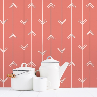 Salmon Colored Arrows Removable Wallpaper