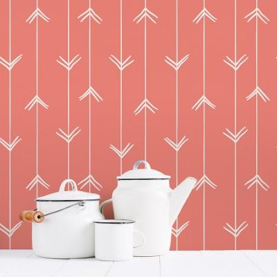 Salmon Colored Arrows Removable Wallpaper