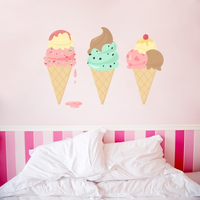 Ice Cream Cones Large Printed Wall Decal