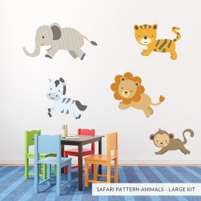 Large Safari Pattern Animals Printed Wall Decal
