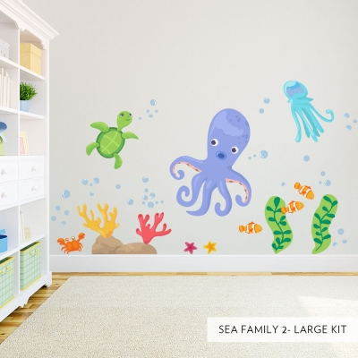 Large Sea Family Two Printed Wall Decal