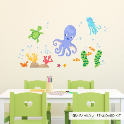 Sea Family Two Printed Wall Decal