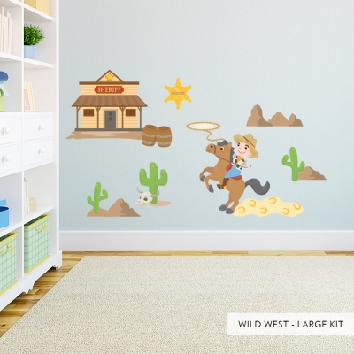 Large Wild West Printed Wall Decal