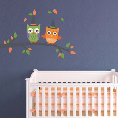 Halloween Owls Printed Wall Decal