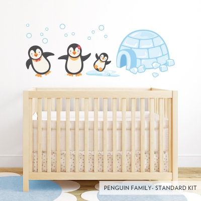 Penguin Family Printed Wall Decal