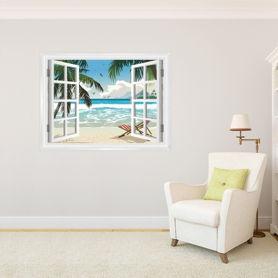 Tropical Faux Window Office Mural