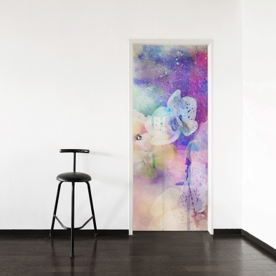 Abstract Floral Paint Door Mural
