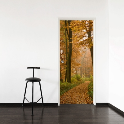 Autumn Forest Path Door Mural