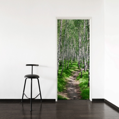 Birch Path Door Mural