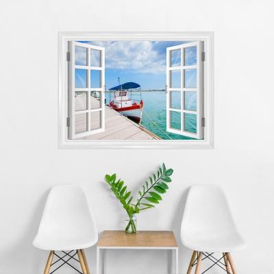 Boat at Dock Faux Window Mural