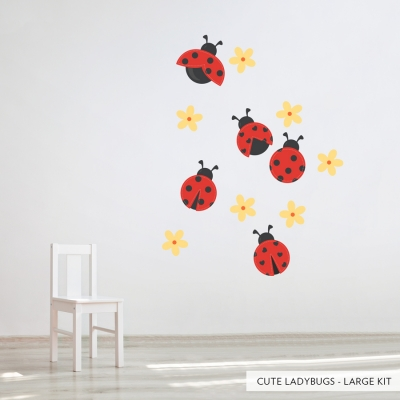 Cute Ladybugs Large Printed Wall Decal