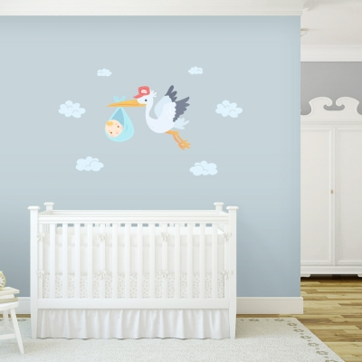 Delivery Stork Boy Printed Wall Decal