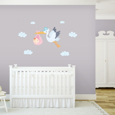 Delivery Stork Girls Printed Wall Decal