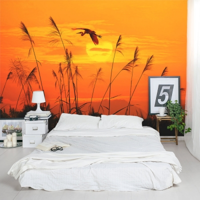 Heron Reed Sunset Wall Mural In Bedroom