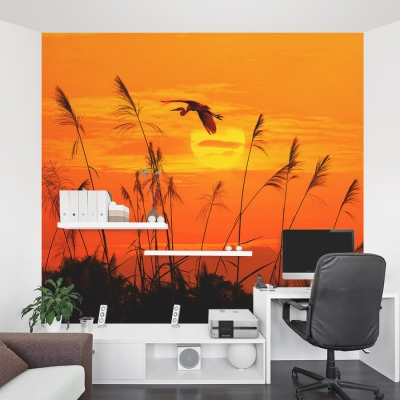 Heron Reed Sunset Wall Mural Home Office