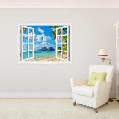 Island Paradise Faux Window Mural