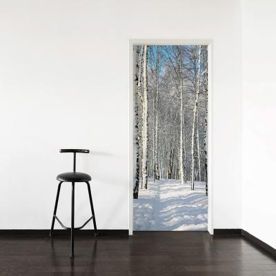 Winter Birch Path Door Mural