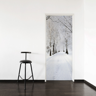 Winter Road Door Mural