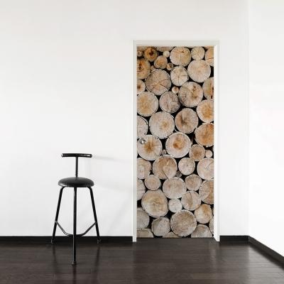 Wood Stack Door Mural