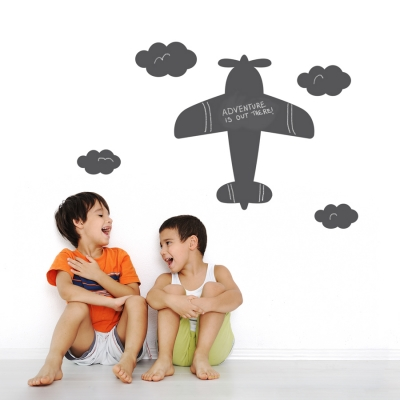 Chalkboard Airplane and Clouds Wall Decal